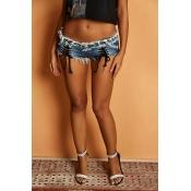 Lovely Sexy Bandage Design Blue Shorts