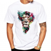 Lovely Casual Cartoon Print White T-shirt