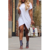 Lovely Stylish O Neck Asymmetrical White Mini Dress