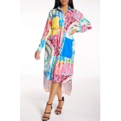 Lovely Casual Turndown Collar Print Multicolor Mid