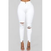 Lovely Casual Broken Holes White Jeans