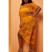 Lovely Asymmetrical Yellow Plus Size Cover-Up