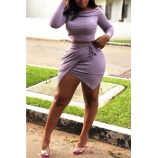 Lovely Trendy Lace-up Purple Two-piece Skirt Set