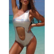 Lovely One Shoulder Silver Bathing Suit One-piece