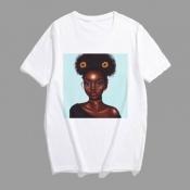 Lovely Leisure Print Blue Plus Size T-shirt