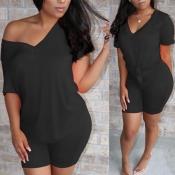 Lovely Casual V Neck Basic Black Two-piece Shorts Set