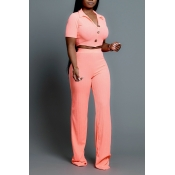 Lovely Leisure Buttons Design Pink Two-piece Pants
