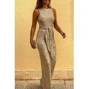 Lovely Trendy Lace-up Gold One-piece Jumpsuit