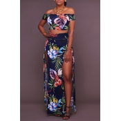 Lovely Bohemian Side High Slit Multicolor Two-piec
