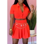 Lovely Casual Buttons Design Jacinth Two-piece Skirt Set