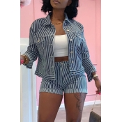 Lovely Trendy Striped Blue Two-piece Shorts Set