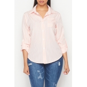 Lovely Casual Striped Knot Design Pink Shirt