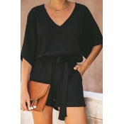 Lovely Casual Lace-up Black One-piece Romper