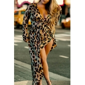 Lovely Casual Leopard Print Coffee Maxi Plus Size