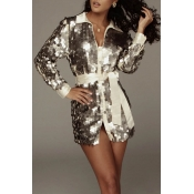 Lovely Trendy Sequined Silver Mini Dress