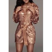 Lovely Trendy Sequined Rose Gold Mini Dress