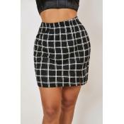 Lovely Trendy Grid Print Black Skirt