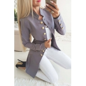 Lovely Casual Buttons Design Grey Coat