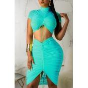Lovely Trendy Fold Design Blue Two-piece Skirt Set