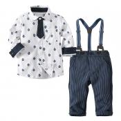 Lovely Trendy Print White Boy Two-piece Pants Set