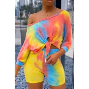 Lovely Casual Tie-dye Yellow Two-piece Shorts Set