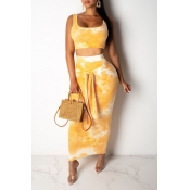 Lovely Casual Tie-dye Yellow Two-piece Skirt Set
