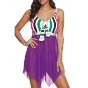 Lovely Patchwork Purple Two-piece Swimsuit