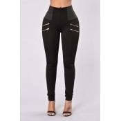 Lovely Leisure Zipper Design Black Pants