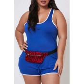Lovely Sportswear Basic Blue Plus Size One-piece R