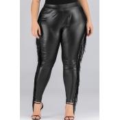 Lovely Stylish Tassel Design Black Plus Size Pants