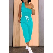 Lovely Casual One Shoulder Lace-up Skyblue Two-pie