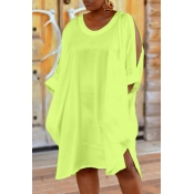 Lovely Leisure Hollow-out Yellow Knee Length T-shi