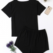 Lovely Casual Heart Print Black Plus Size Two-piec