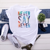 Lovely Leisure O Neck Letter Print White T-shirt