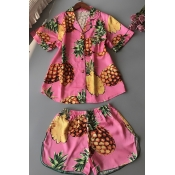 Lovely Casual Pineapple Print Pink Sleepwear