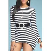 Lovely Casual Striped Print Black Mini Dress