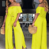 Lovely Casual Side High Slit Yellow Two-piece Pant
