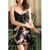 Lovely Trendy Print Black Sleepwear