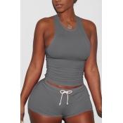 Lovely Casual Sleeveless Dark Grey Two-piece Shorts Set