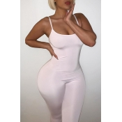 Lovely Leisure Basic White One-piece Jumpsuit