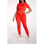 Lovely Casual Broken Holes Red Two-piece Pants Set