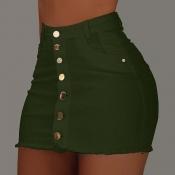 Lovely Casual Buttons Design Green Skirt