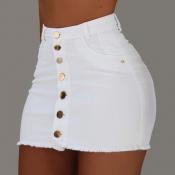 Lovely Casual Buttons Design White Skirt