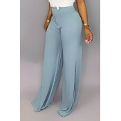 Lovely Casual Basic Baby Blue Pants