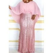 Lovely Trendy Patchwork Pink Maxi Plus Size Dress