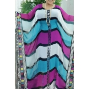 Lovely Trendy Striped Multicolor Maxi Plus Size Dr