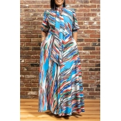 Lovely Casual Print Blue Maxi Plus Size Dress