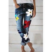 Lovely Casual Print Deep Blue Plus Size Jeans