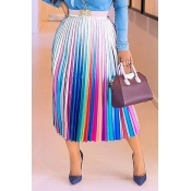 Lovely Casual Print Silver Skirt