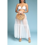 Lovely Sweet See-through White Two-piece Skirt Set